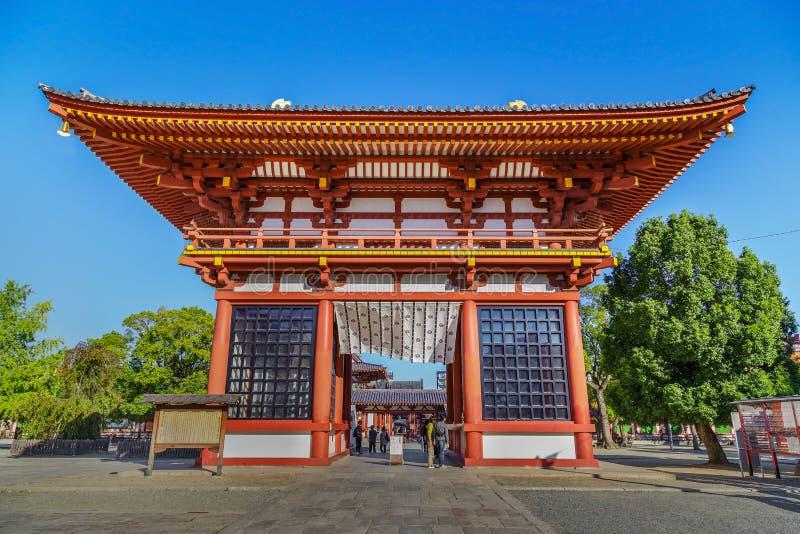 Saidaimon (West Gate) at Shitennoji Temple in Osaka, Japan. Saidaimon - the main gate of Shitennoji Temple, situated at the west of the temple stock photography