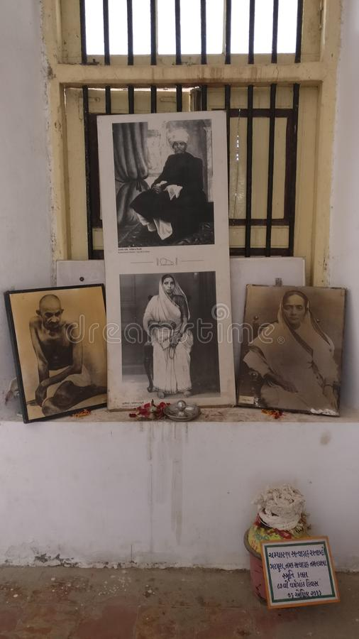 Saifee Villa, Surat, India. Mahatma Gandhi stayed here for a duration. These pictures are his family portraits. Saifee Villa, Surat, India stock photos