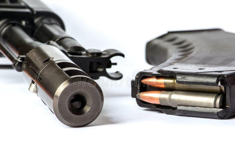 Saiga MK-03 (AK-47 type) isolated. Saiga MK-03 (Ak-47 type), russian carabine and buttstock stock photography