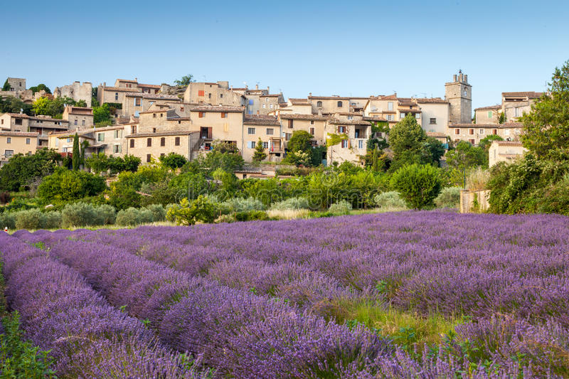 Saignon village at sunset, Provence, France. Saignon village at sunset, Vaucluse region, Provence, France stock photo