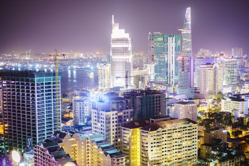 Saigon-Antenne nachts, Vietnam stockbilder