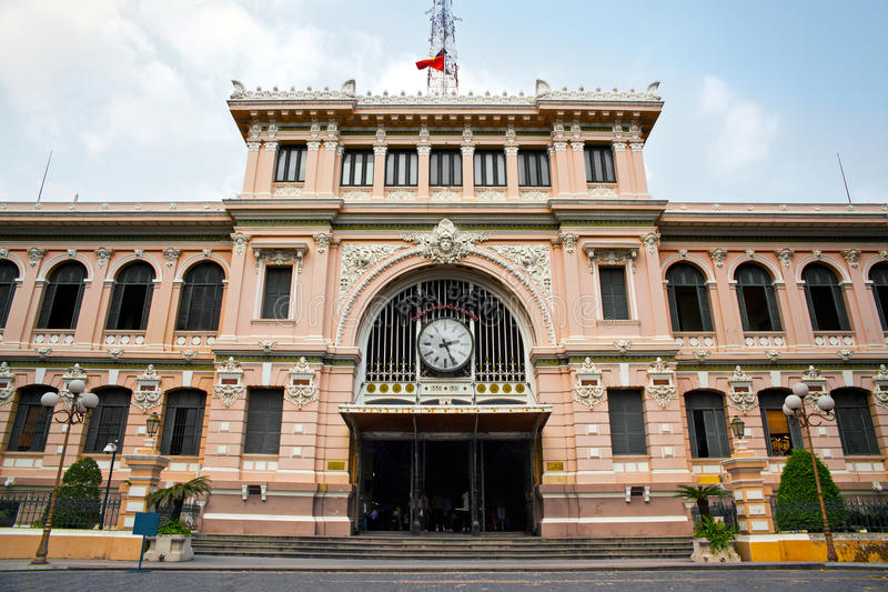 Post Office designed by Gustave Eiffel, Ho Chi Minh City, Vietnam stock image