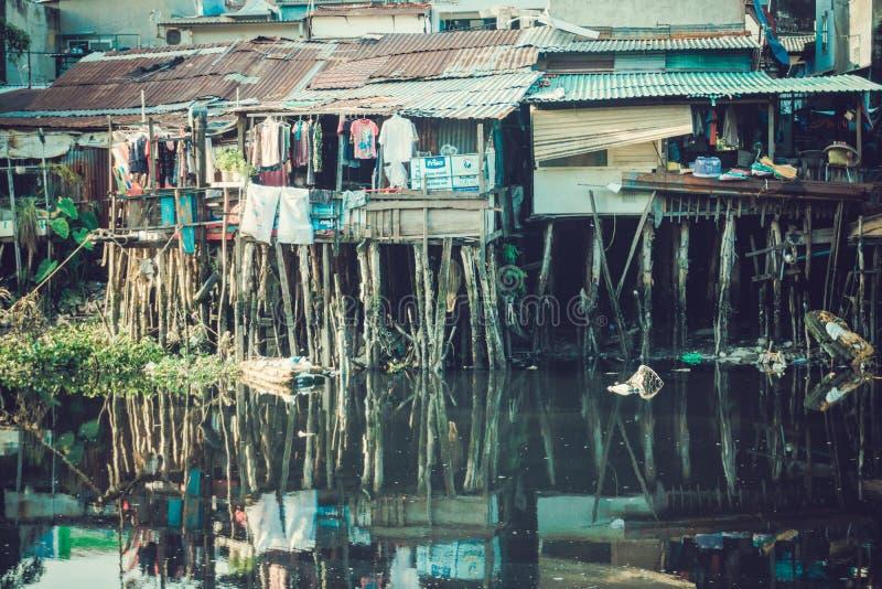 Saigon flod i mittstad royaltyfri fotografi