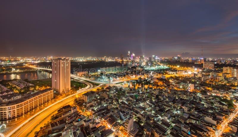 Saigon/Ho Chi Minh City vid natt arkivbild