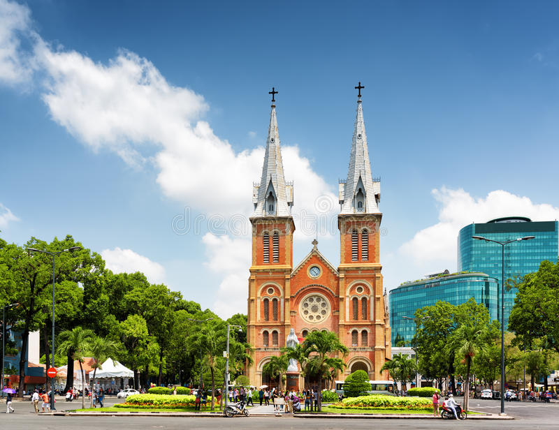 Saigon Notre-Dame Cathedral Basilica in Ho Chi Minh, Vietnam. Saigon Notre-Dame Cathedral Basilica (Basilica of Our Lady of The Immaculate Conception) on blue stock images