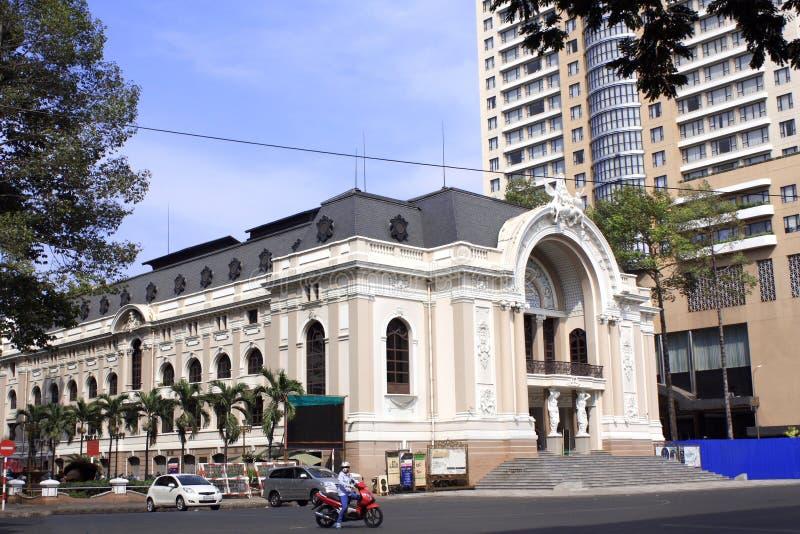 Saigon Opera House, Ho Chi Minh City, Vietnam. Facade of the historic Saigon Opera House Municipal Theatre of Ho Chi Minh City, Khoi Street, Ho Chi Minh City royalty free stock photo