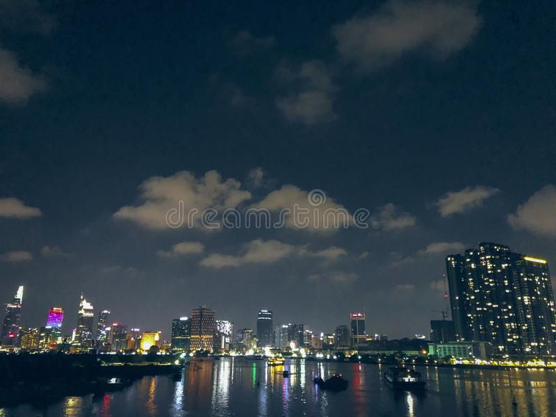 A corner of Saigon from afar. In Saigon, we rarely see night stars, because it seems that the city itself has become a shining star every night. It is said that royalty free stock photos