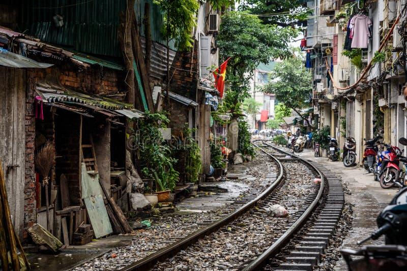 Train Street Hanoi Vietnam stock photo