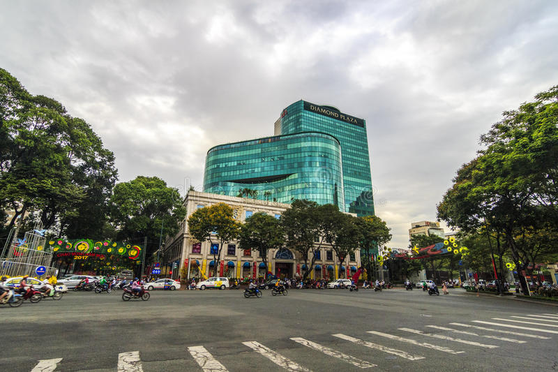 SAIGON, VIETNAM - JAN 23, 2017 - Diamond plaza is a luxurious shopping center and office building for rent in downtown royalty free stock image