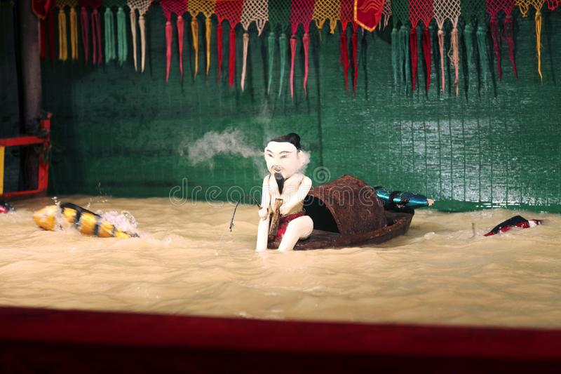 SAIGON, VIETNAM - JANUARY 05, 2015 - Traditional water puppet theater stock image