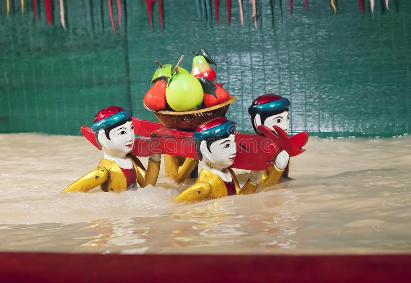 SAIGON, VIETNAM - JANUARY 05, 2015 - Traditional water puppet theater stock photo