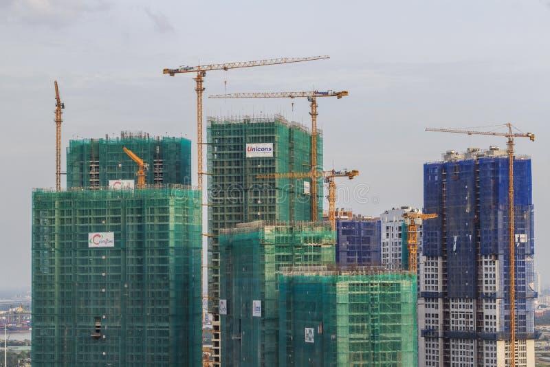 SAIGON, VIETNAM - JULY 03, 2016 - A construction buiding in VINHOMES GOLDEN RIVER apartment. A construction buiding in VINHOMES GOLDEN RIVER apartment project stock photography