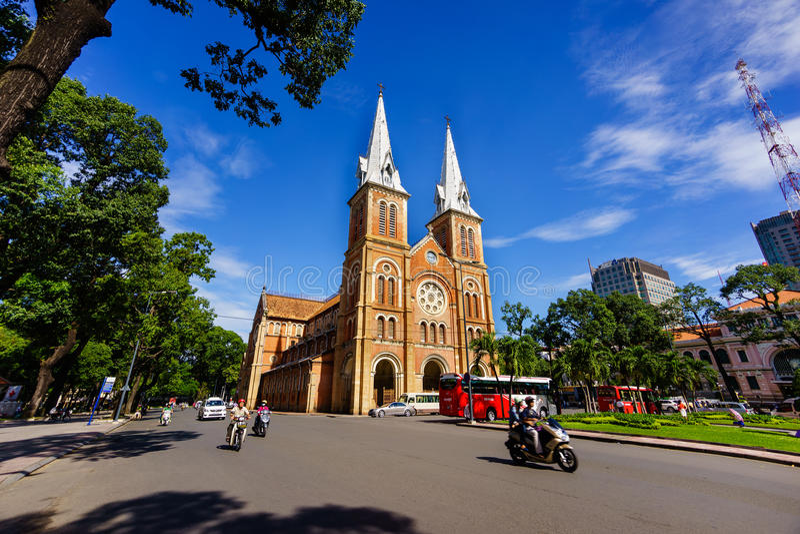 SAIGON, VIETNAM - 07 November 2014: Notre Dame Cathedral Vietnamese: Nha Tho Duc Ba, build in 1883 in Ho Chi Minh city. Notre Dame Cathedral Vietnamese: Nha Tho stock photos