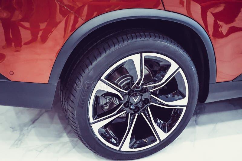 SAIGON / VIETNAM, 27 NOVEMBER 2018 - VinFast Lux AS2.0 SUV car showcased at Vinhome Central Park.  stock photos