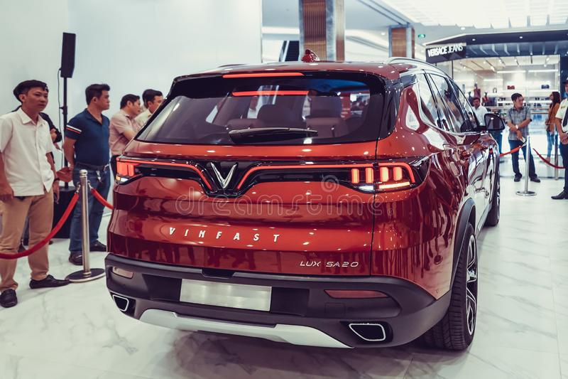 SAIGON / VIETNAM, 27 NOVEMBER 2018 - VinFast Lux AS2.0 SUV car showcased at Vinhome Central Park.  royalty free stock images