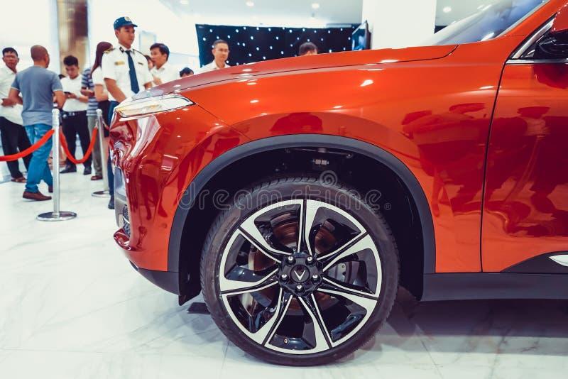 SAIGON / VIETNAM, 27 NOVEMBER 2018 - VinFast Lux AS2.0 SUV car showcased at Vinhome Central Park.  royalty free stock photos