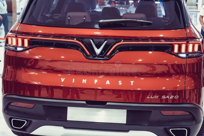 SAIGON / VIETNAM, 27 NOVEMBER 2018 - VinFast Lux AS2.0 SUV car showcased at Vinhome Central Park.  royalty free stock photo