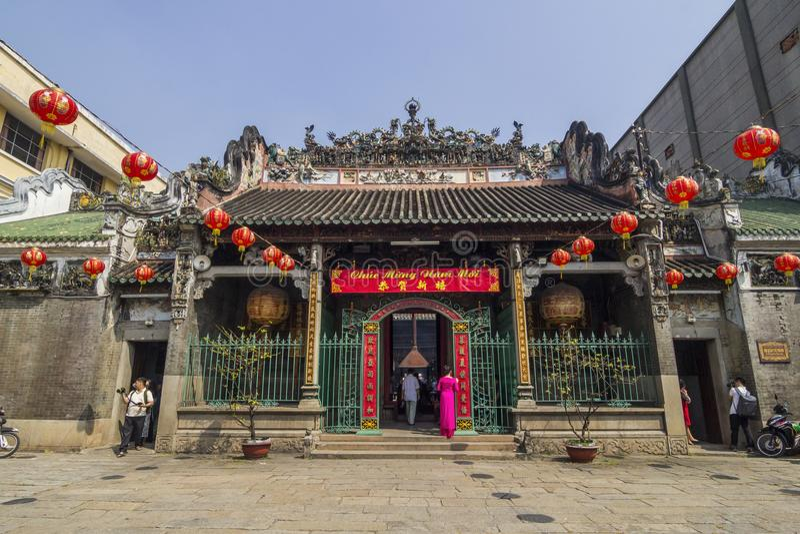 SAIGON, VIETNAME - 13 de fevereiro de 2018 - templo de Thien Hau, oficialmente o pagode de Thien Hau dos vagabundos, é um templo  foto de stock royalty free