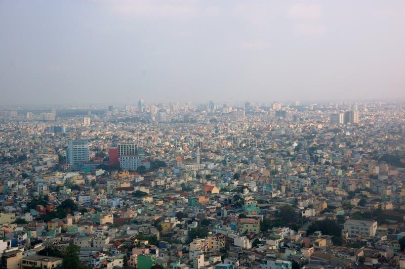 Saigon vom Flugzeugfenster stockfotos