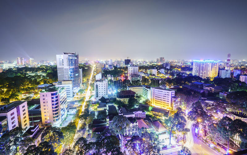 Saigonantenne bij nacht, Vietnam royalty-vrije stock afbeelding
