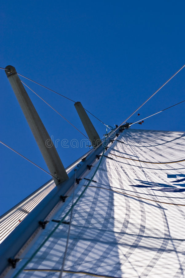 Sail. Detail of sail from bottom up during Barcolana regatta / boat race - Trieste, Italy 2007 stock photo