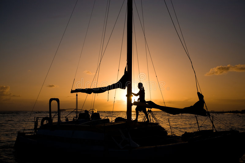 Download Sail Boat stock image. Image of dusk, orange, boating - 8952441