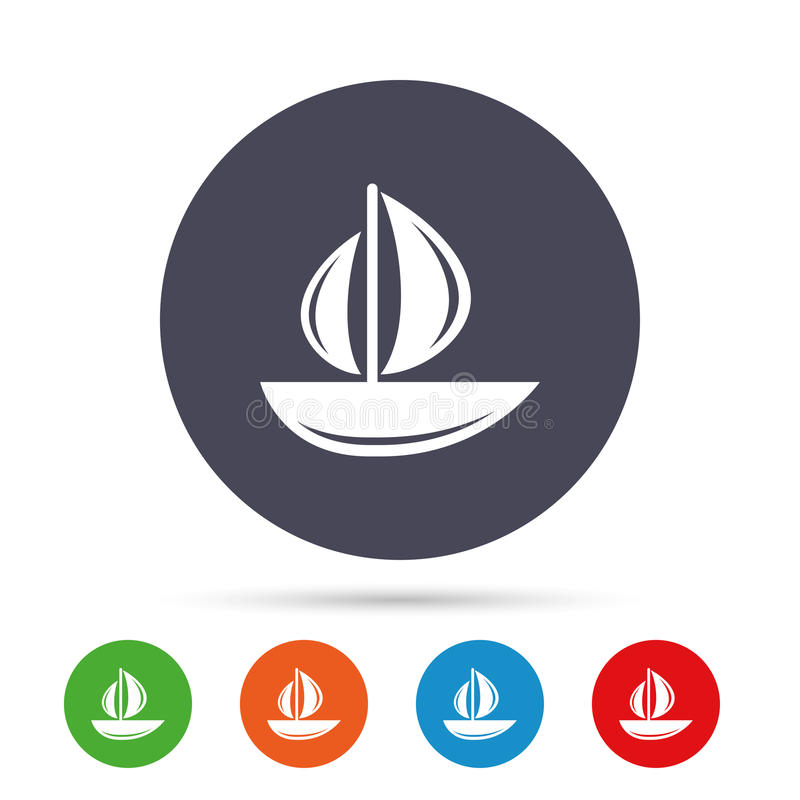 Sail boat icon. Ship sign. Shipment delivery symbol. Round colourful buttons with flat icons. Vector royalty free illustration