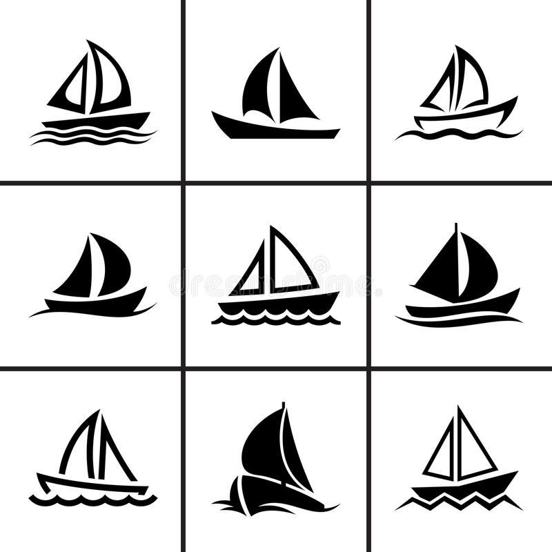 Free Sail Boat Icons Set Stock Images - 43050254