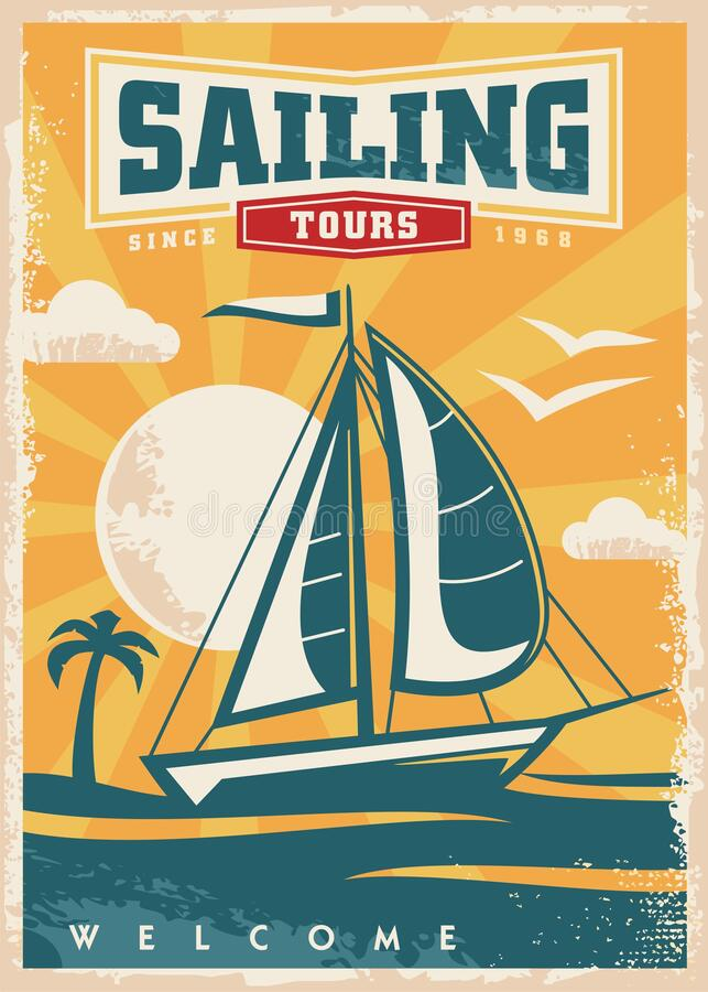 Free Sail Boat In A Beautiful Sunset Retro Travel Poster Royalty Free Stock Photography - 219925207