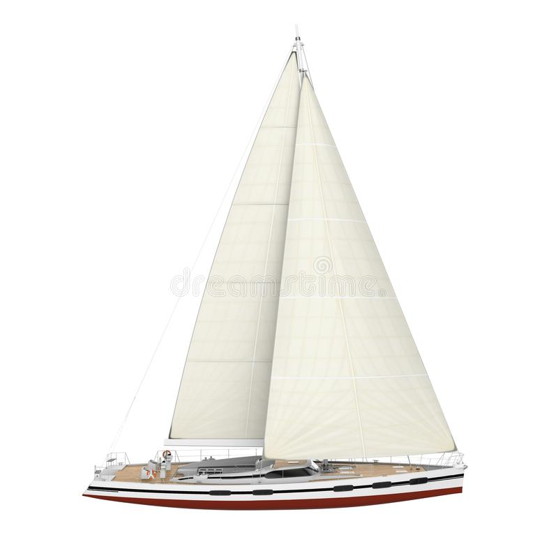 Sail Boat Isolated. On white background. 3D render stock illustration