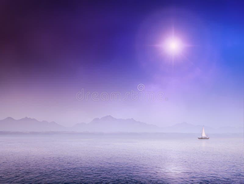 Download Sail Boat on misty ocean stock illustration. Illustration of nobody - 23913150