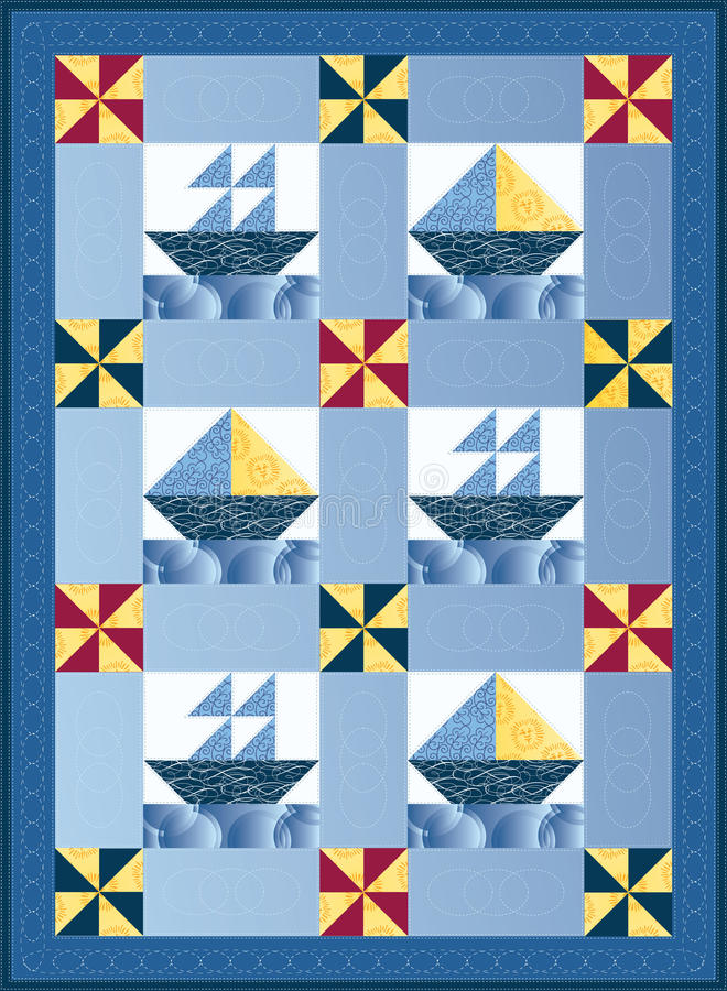 Sail Boat Quilt. Sail boat mini quilt in blues, yellows and red stock illustration