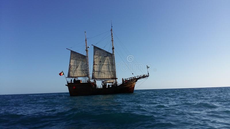 Sail boat in the sea. royalty free stock photo