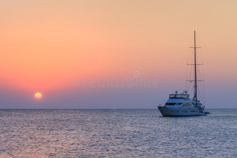 Sail boat on sea stock photos