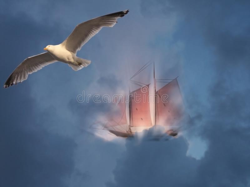 Sail boat and seagull royalty free stock photos