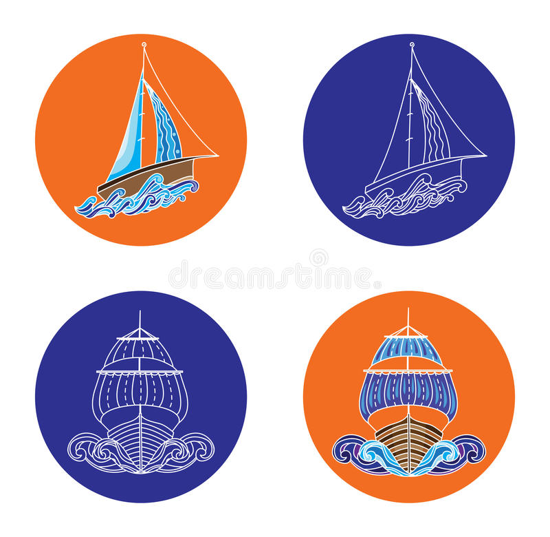 Sail boat and ship vector illustrations stock illustration