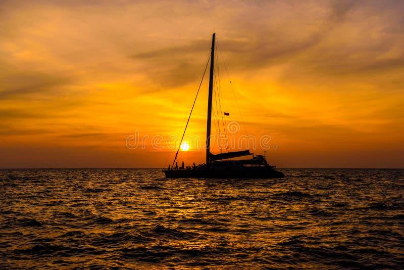 Sail boat in sunset, Phi Phi Leh islands, Andaman sea, Krabi, Th stock photos