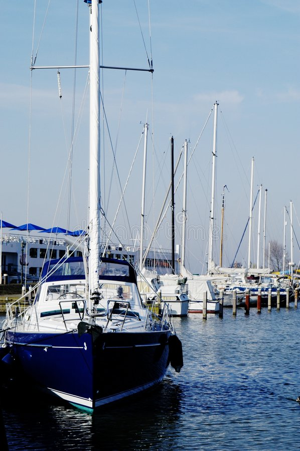 Sail boat in Voldendam Harbour, Holland stock photo