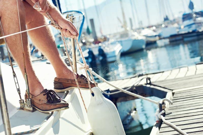 Sail boat yacht mooring stock photography
