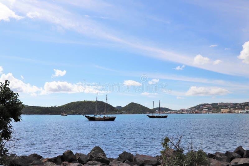 Sail Boats, Boats, Ocean, Sea, Mountains, St. Thomas, US