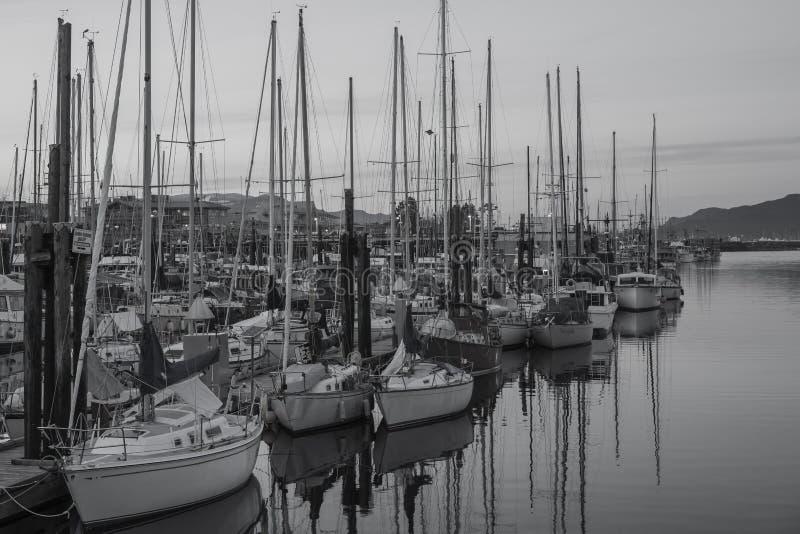 Sail Boats at the Campbell River Marina. Sail boats moored at the Campbell River Marina royalty free stock photos