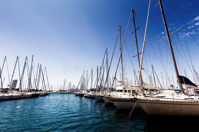 Sail boats. Lots of sail boats moored in harbour stock photography
