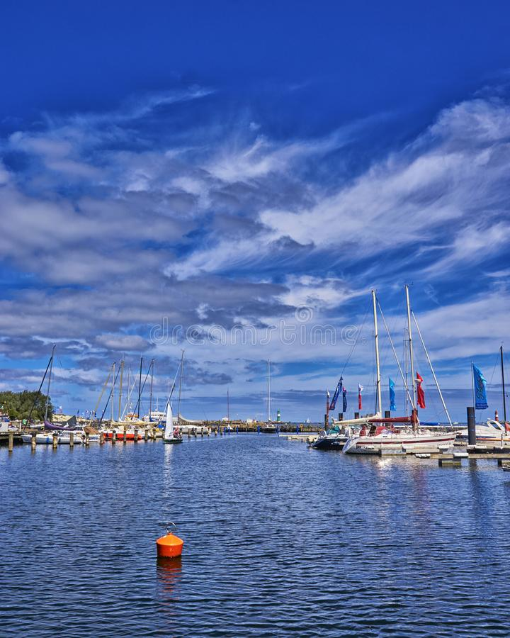 Sail boats on the marina on a beautiful summer day. Located at the German baltic sea. Warnemünde royalty free stock photo