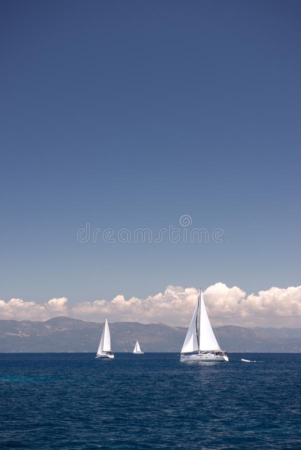 Sail boats sailing in the Mediterranean sea stock photo
