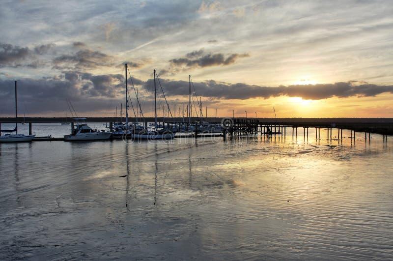 Sail Boats at Sunset. Sail boats during sunset at Saint Mary`s, Georgia royalty free stock photo