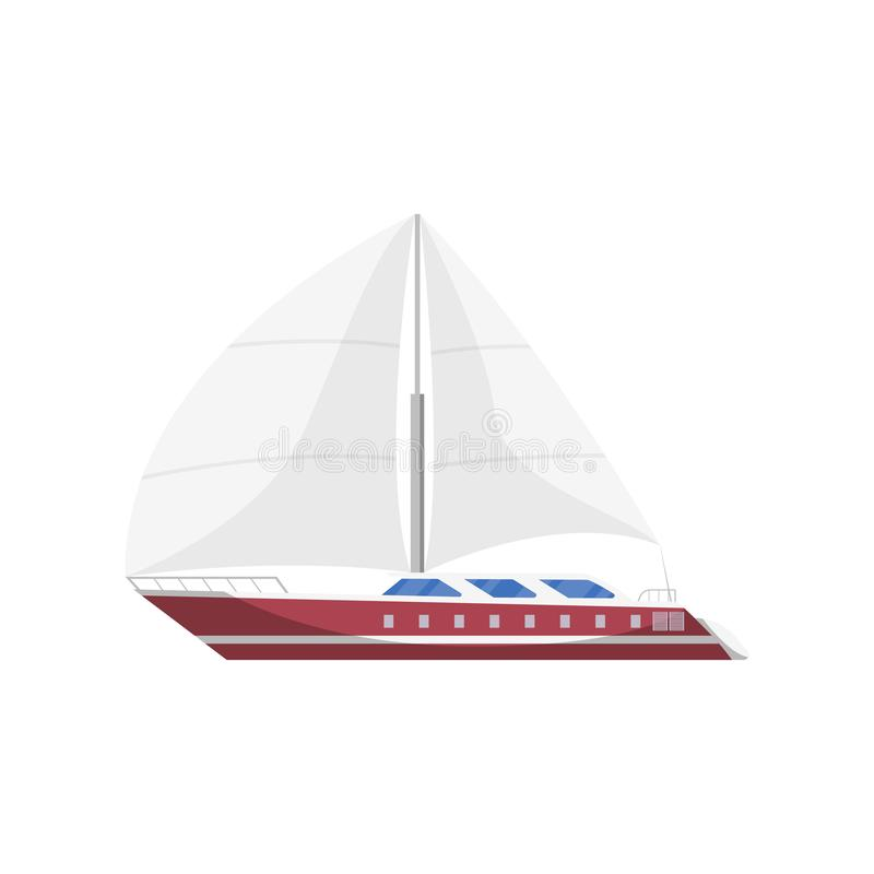 Sail frigate side view isolated icon. Marine passenger cruise ship, worldwide yachting, nautical sport competition, sea or ocean vessel illustration stock illustration