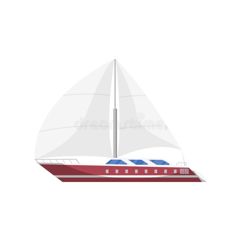Sail frigate side view isolated icon. Marine passenger cruise ship, worldwide yachting, nautical sport competition, sea or ocean vessel vector illustration royalty free illustration