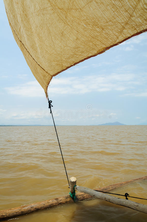 The sail of a pirogue. In rural northern Madagascar royalty free stock image