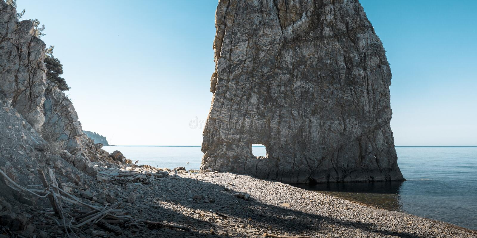 Sail Rock on the beach, picturesque seascape. Black Sea, Krasnodar Region, Northern Caucasus, Russia royalty free stock photos