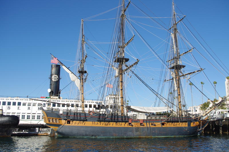 Sail ship in the harbor royalty free stock photo